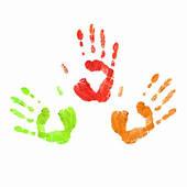 Stock Illustration of Rainbow painted hand shape k13035999.