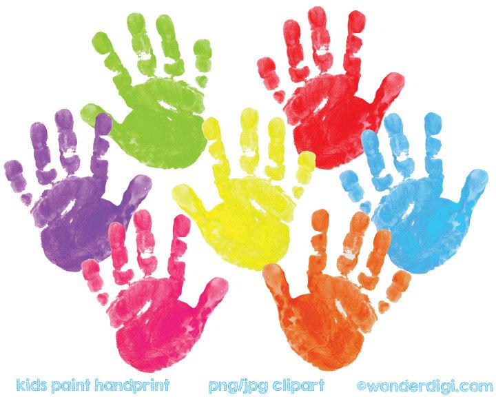 Colors kids hand prints painting clipart.