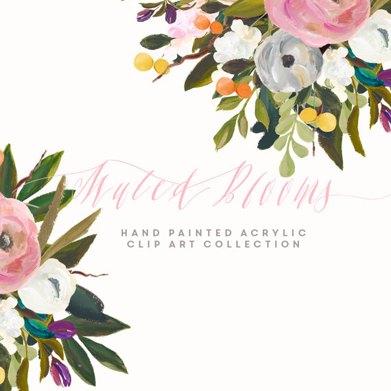 Hand Painted Flower Clip Art Collection Muted Blooms.
