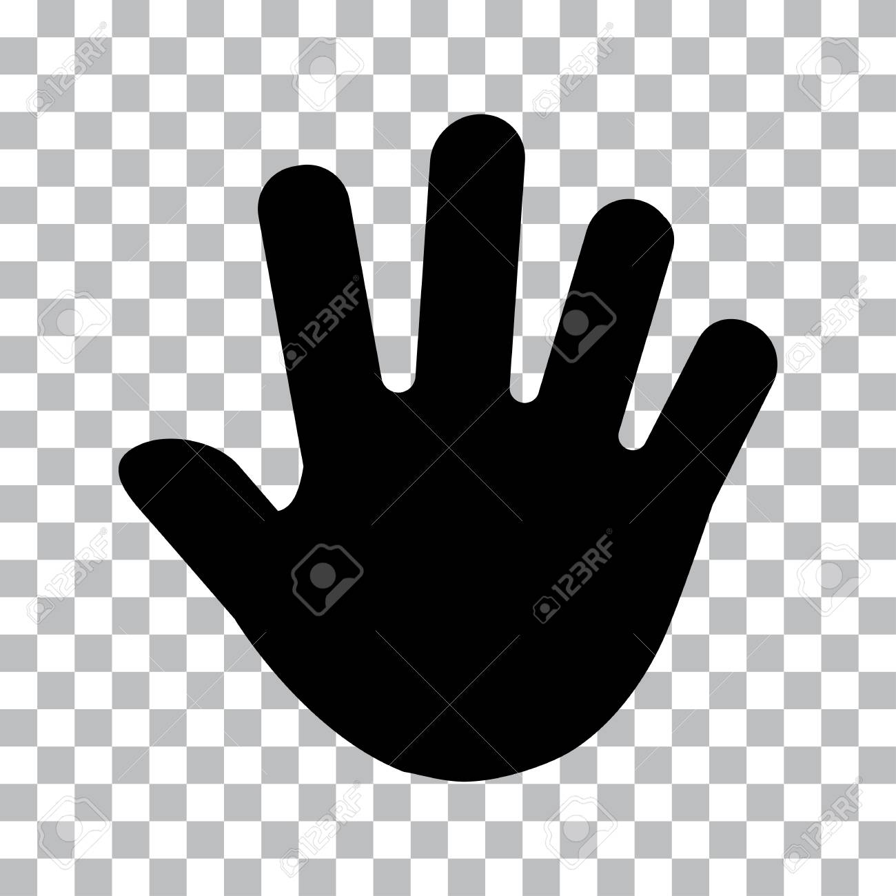 Human hand print, palm. Black silhouettes on transparent background.