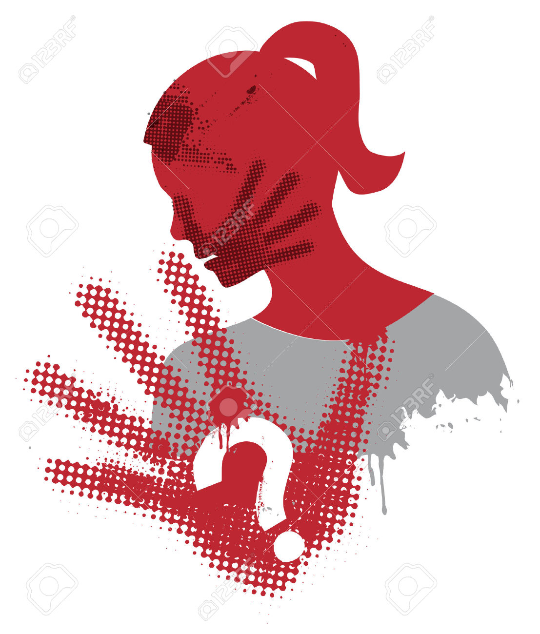 Violence Against Woman. Young Woman Grunge Silhouette Covering.