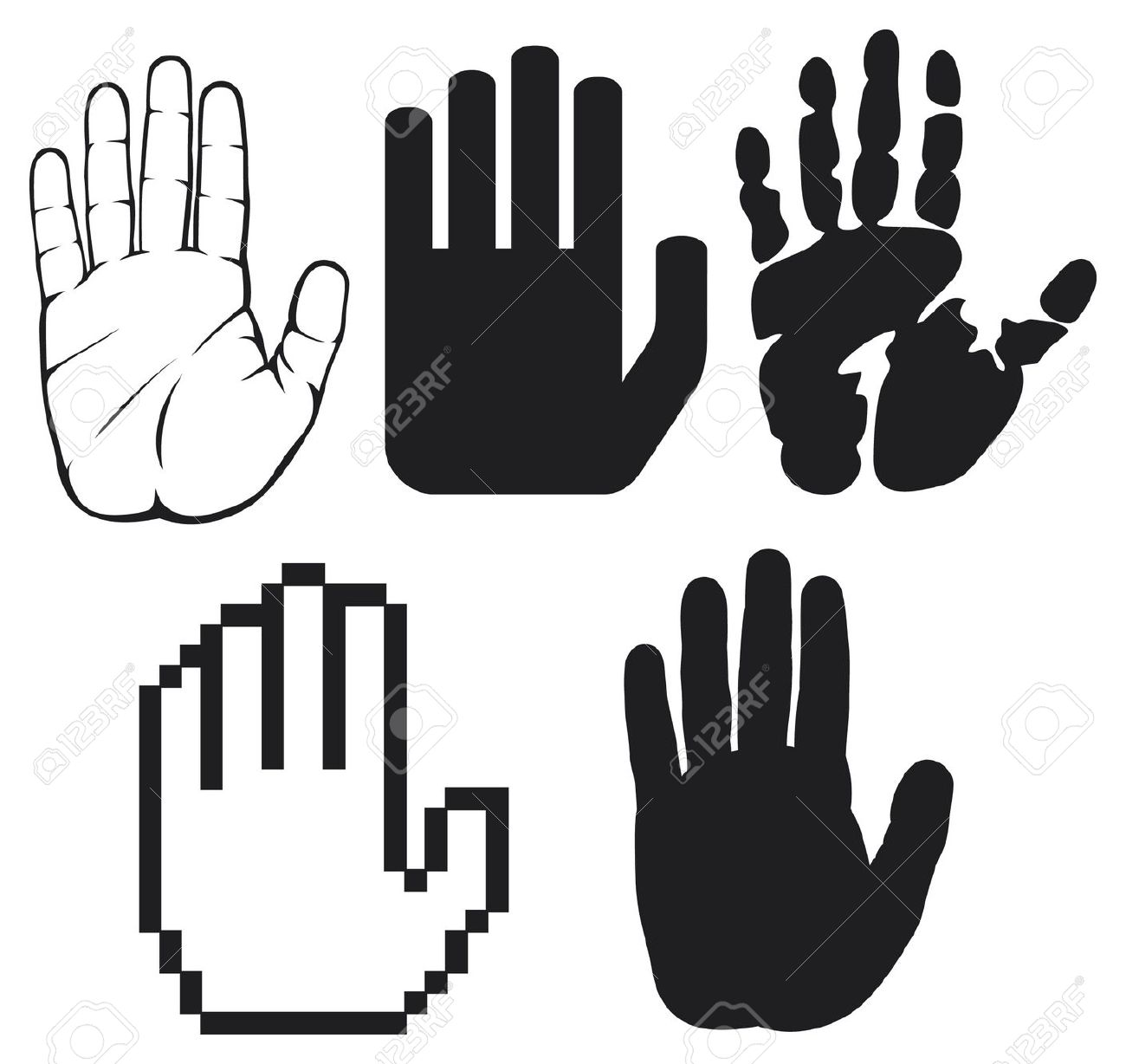 Stop Hand Silhouette Clipart.