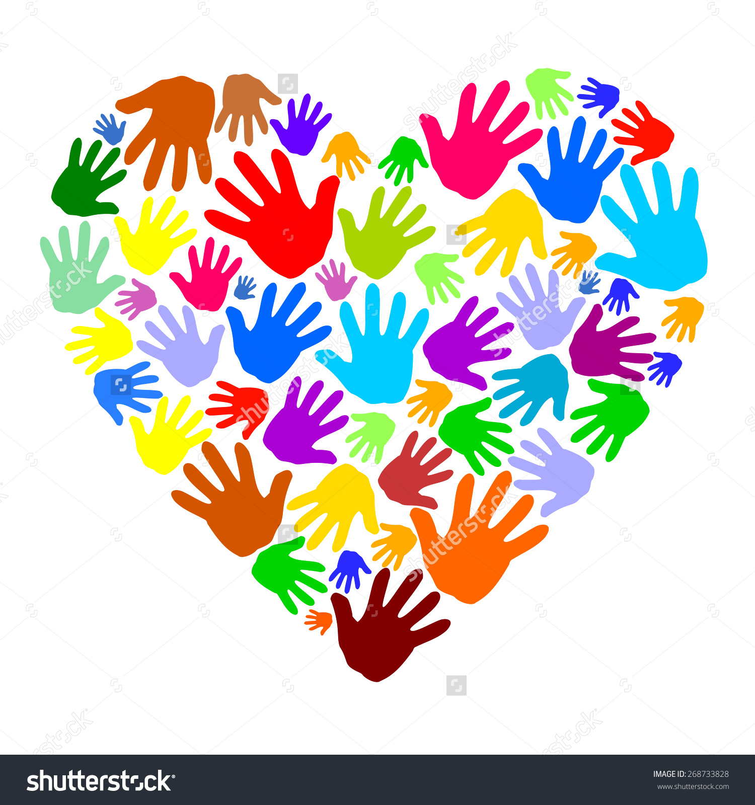 Abstract Colored Heart Shape Human Hand Stock Vector 268733828.
