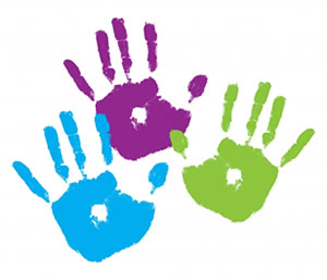 Kids hand prints clipart.