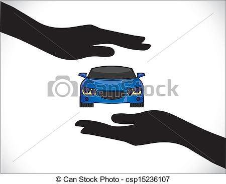 Vector Clipart of Blue Car Insurance Protection Hand`.