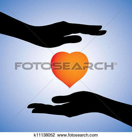 Clipart of Concept illustration of protection of heart from.
