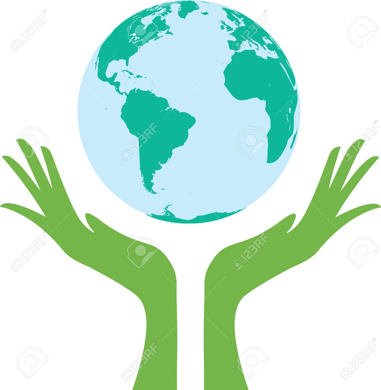 Earth in hand clipart.