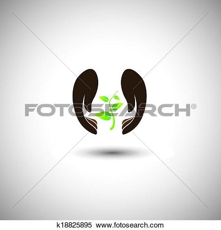 Clipart of woman's hand protecting plant.