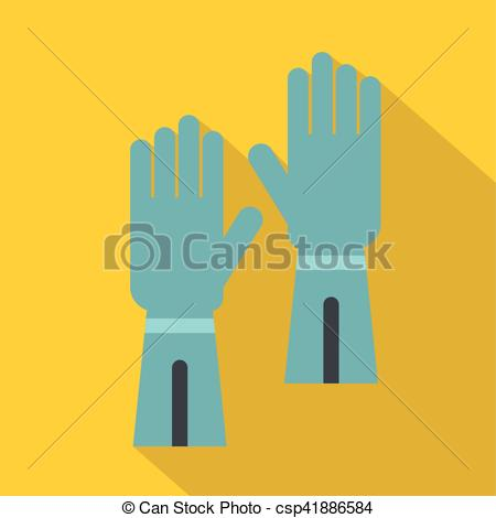 Vector of Rubber gloves for hand protection icon, flat style.