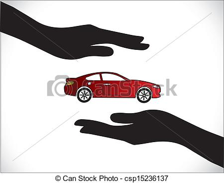 Vectors of Red Car Insurance Protection Hand.