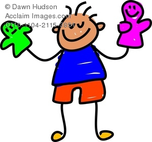 Clipart Image of A Happy Little Boy Playing With Toy Hand Puppets.