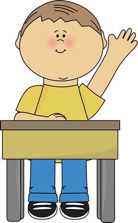 Boy Raising Hand Clip Art.