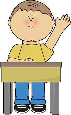 Boy Raising Hand Clip Art.