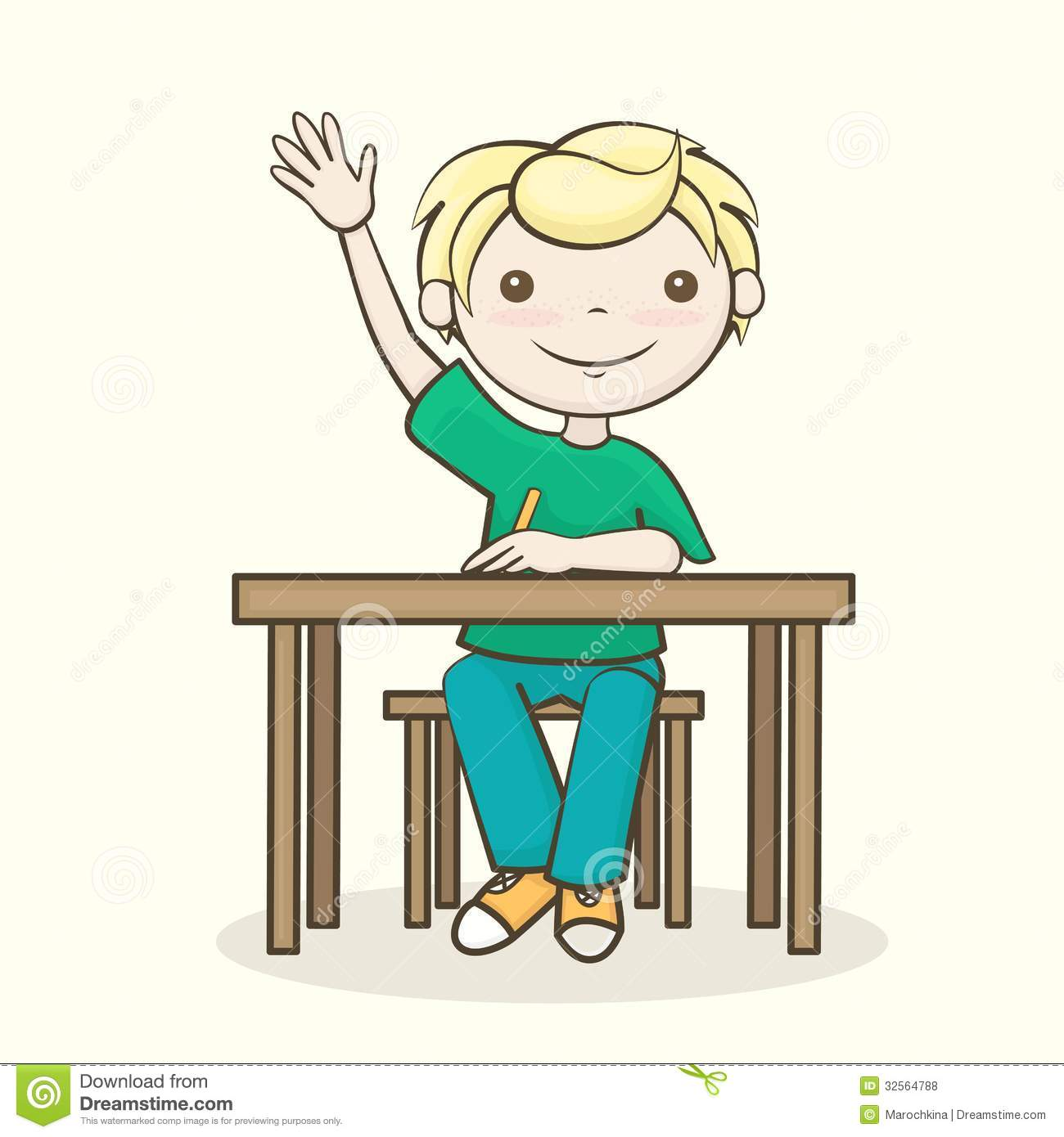 Students raising hands clip art.