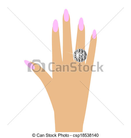 EPS Vector of woman hand with a diamond ring, vector illustration.