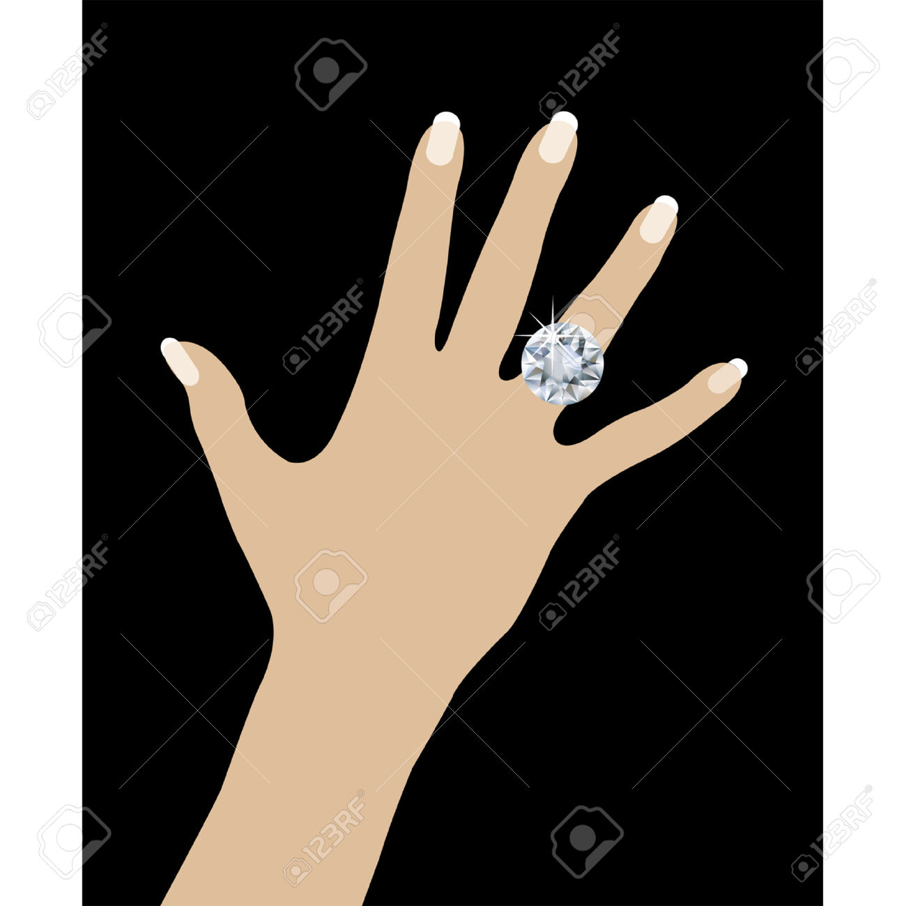 Hand with ring clipart.