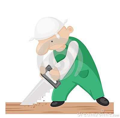 Carpenter Vector Cartoon Stock Vector.