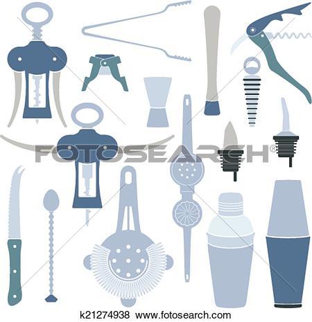 Clip Art of solid colors barmen equipment set k21274938.