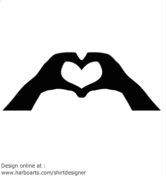Hand in heart clipart.
