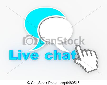 Stock Illustrations of Live Chat Button with Hand Shaped mouse.