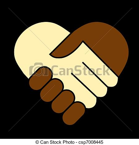 Clipart Vector of Hand shake between black and white man, heart.