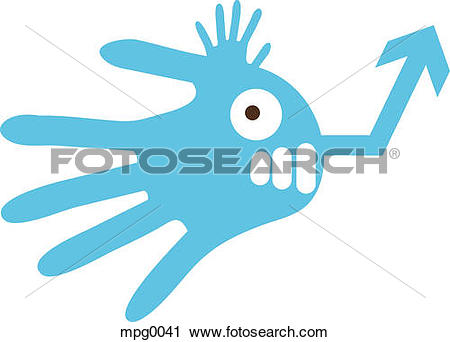 Clipart of A blue hand shaped creature mpg0041.