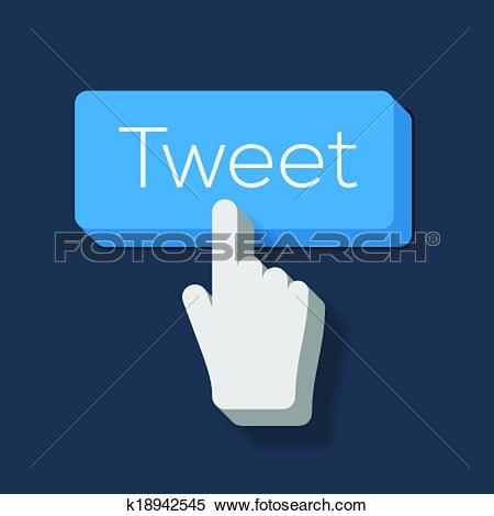 Clipart of Tweet button with Hand Shaped Cursor k18942545.