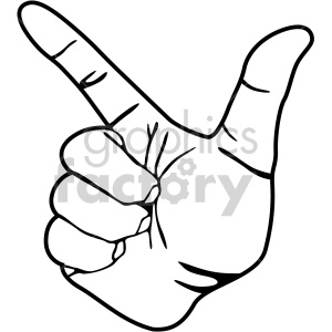 hand sign l black white clipart. Royalty.