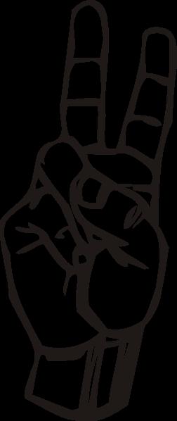V Hand Sign Clipart.