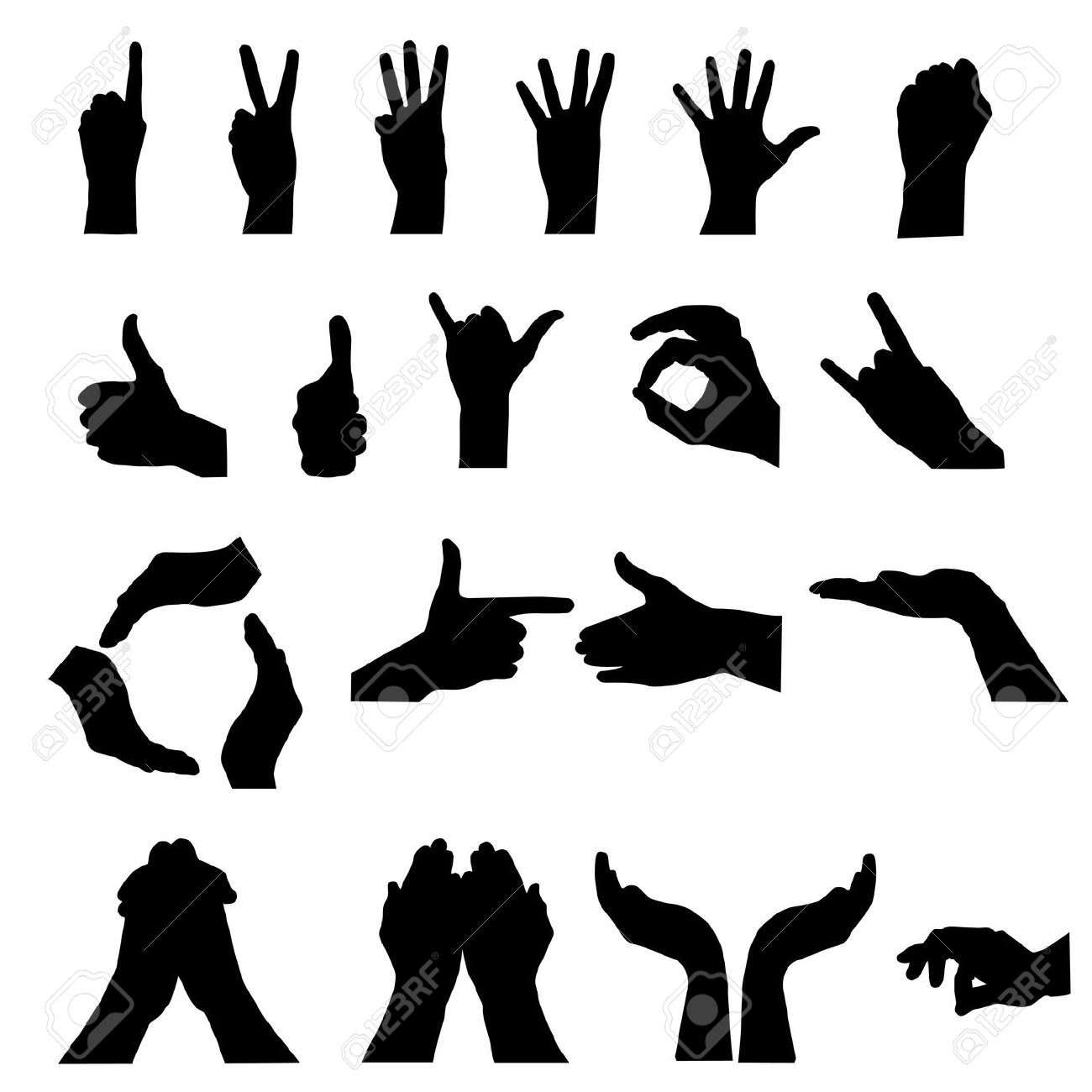 Hand Signal On White. Vector Illustration Royalty Free Cliparts.