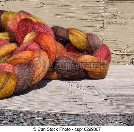 Stock Image of hand spun and dyed lama wool.