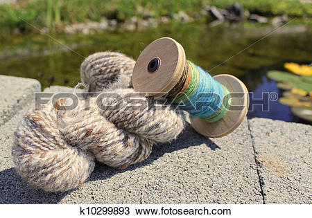 Stock Photo of Hand spun wool fibres for crafts. k10299893.