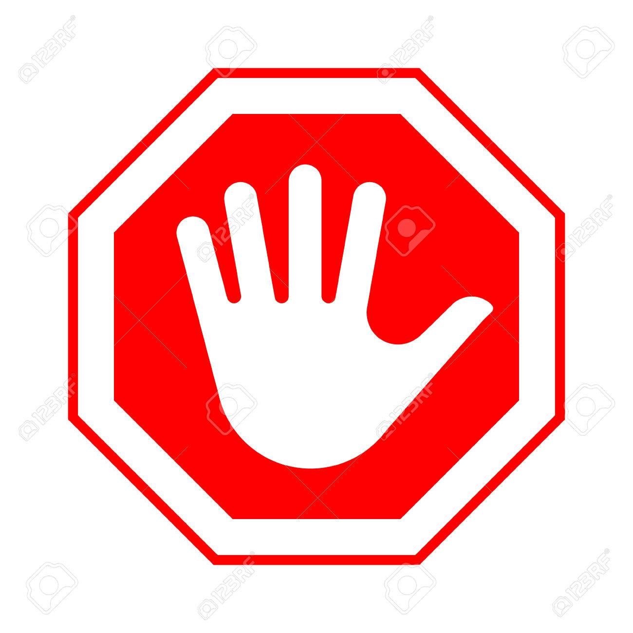 Red octagonal stop sign with hand. Vector illustration..