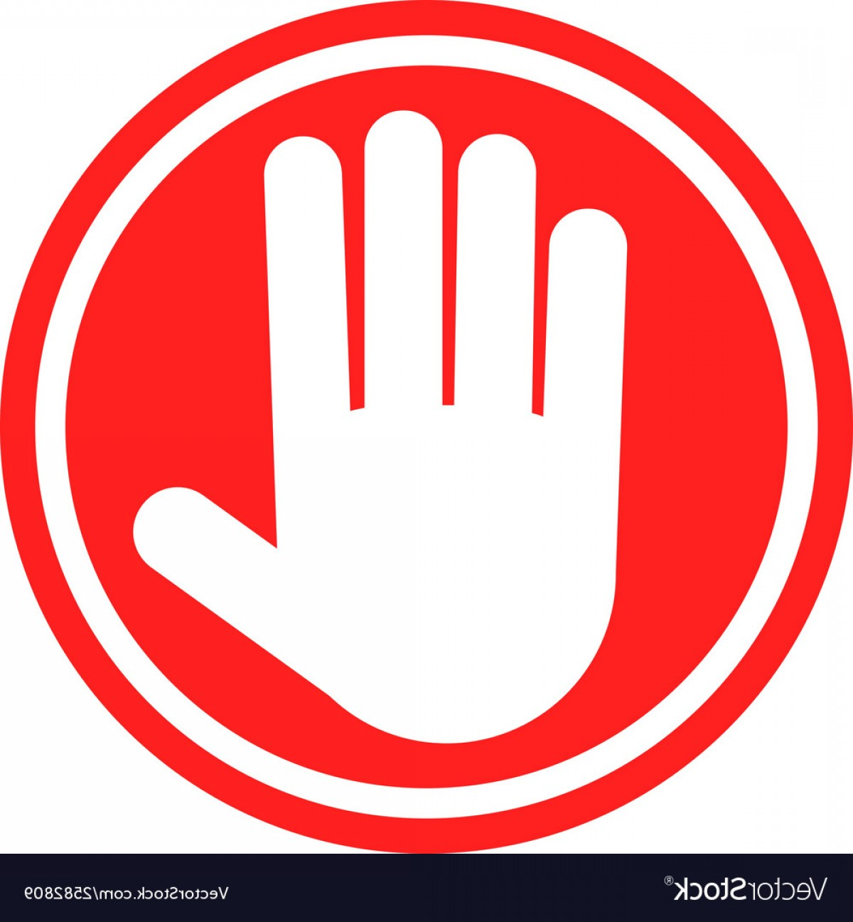 Stop Sign With Human Hand Warning Sign Hazardous Vector.