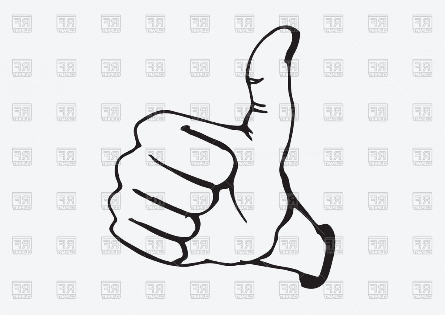 Thumbs Up Symbol Hand Drawn Style Vector Clipart.