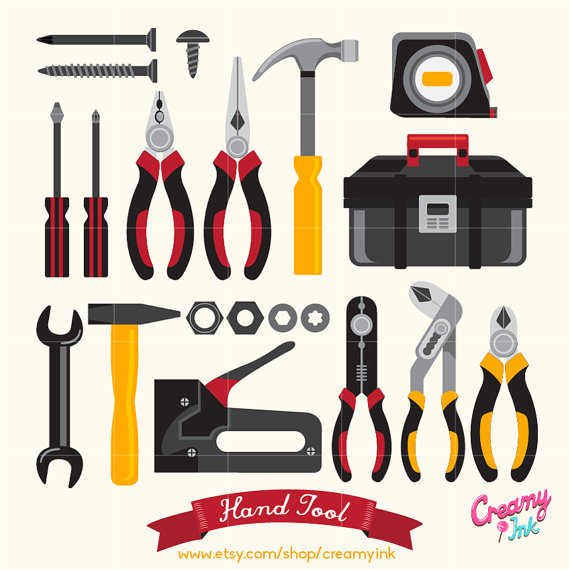 Hand Tool Digital Clip Art / Tool Box Digital Clipart Design.