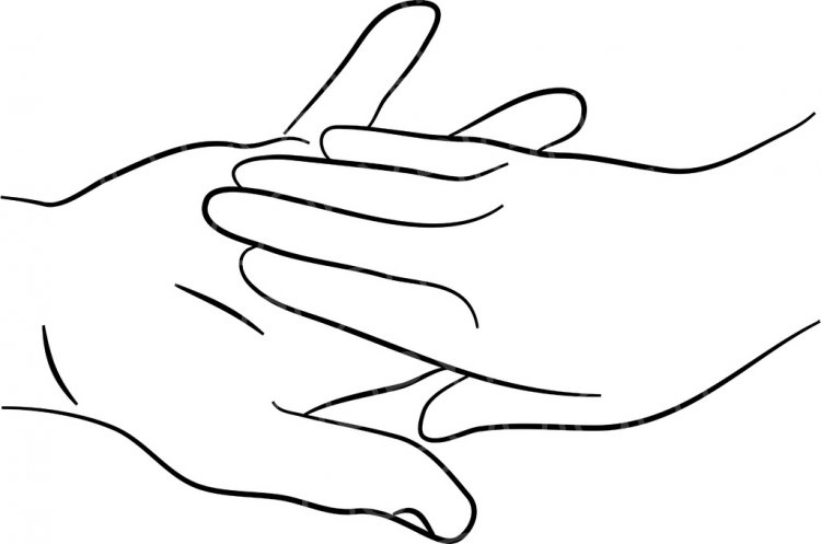 A Male and Female Hand Touching Clip Art Illustration.