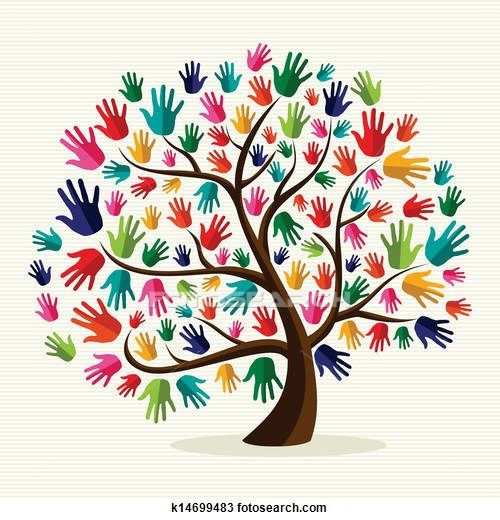Colorful solidarity hand tree Clipart.