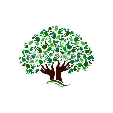 Friendship connection tree image. Hands on hand tree logo.