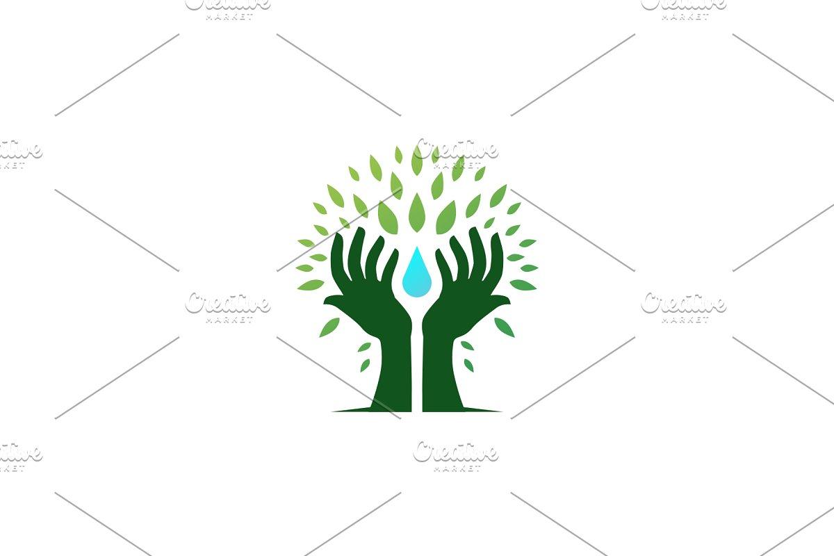 hand tree hold water drop leaf logo.