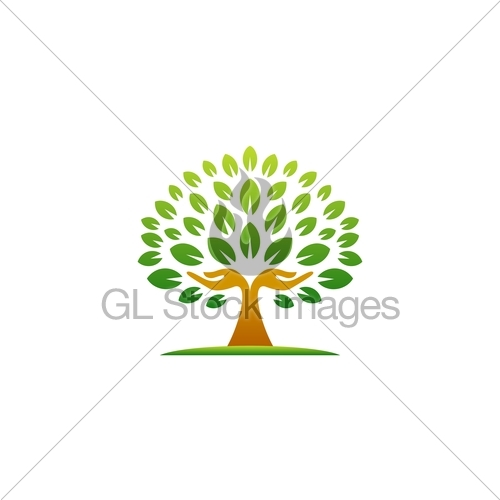 Hand Tree Logo, Natural Hands Tree Wellness Concept Icon.