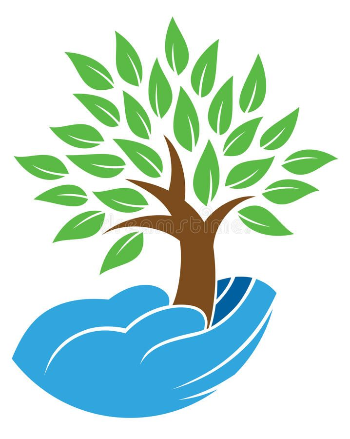 Hand holding tree logo. Hands hold and nuture a growing tree.
