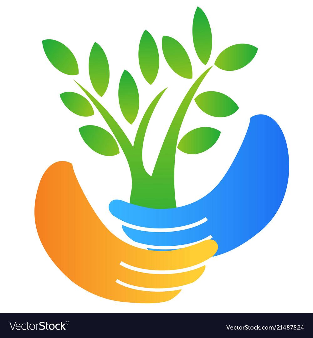 Hand holding tree logo.