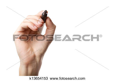 Stock Photo of Hand holding marker turned to camera k13654153.
