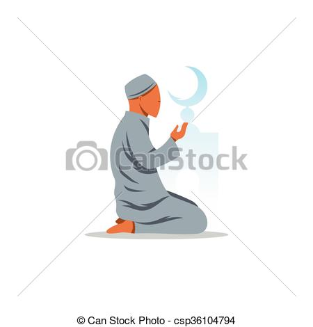 EPS Vectors of Islamic Prayer on his knees turned to God. Vector.