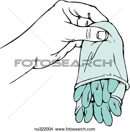 Drawings of Illustration of left hand holding contaminated gloves.