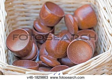 Stock Photo of Wooden egg cups Hand turned wood egg cups in a.