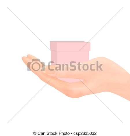 Clip Art of Hand Offering Gift.