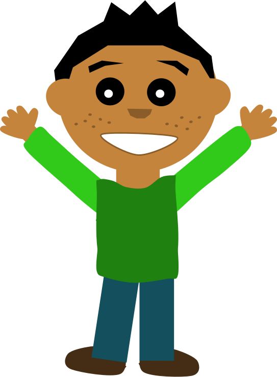 Boy with hand up clipart.