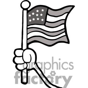 Hand Waving White Flag Clipart.